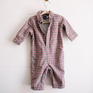 babyGap Baby 3-6 Months One Piece Flannel Red Grey